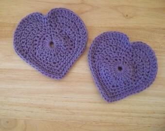 Coaster - Crochet Heart Coaster in Purple - Great for Valentine's Day
