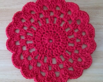 Coaster - Crochet Coaster or Potholder - Large in Red