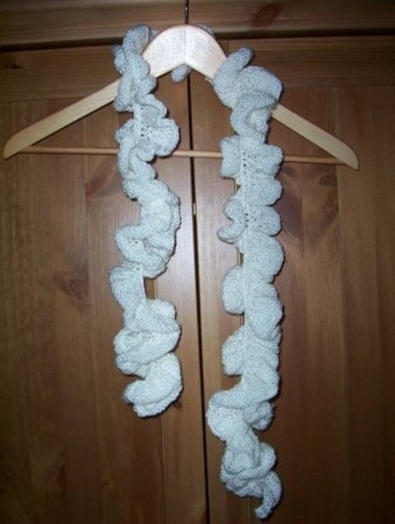 Scarf - Hand Knitted Ruffled Scarf - Made of White Acrylic Yarn