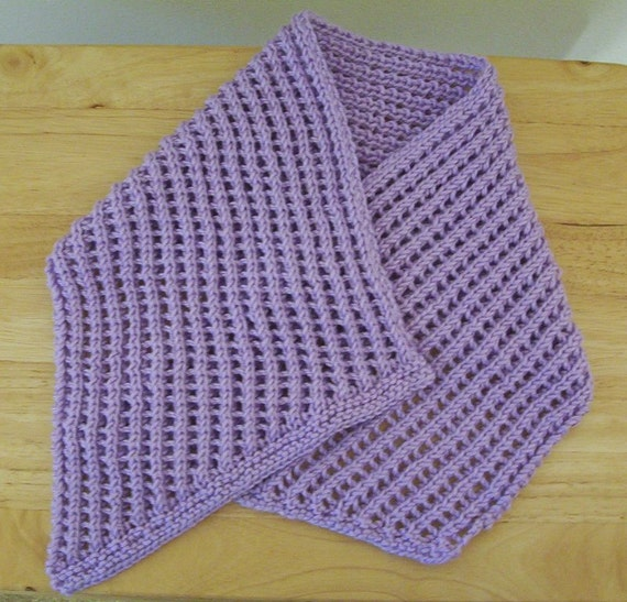 Knitting Pattern For Scarflette : Scarf Hand Knitted Scarflette in Lilac Knitted in a Nice
