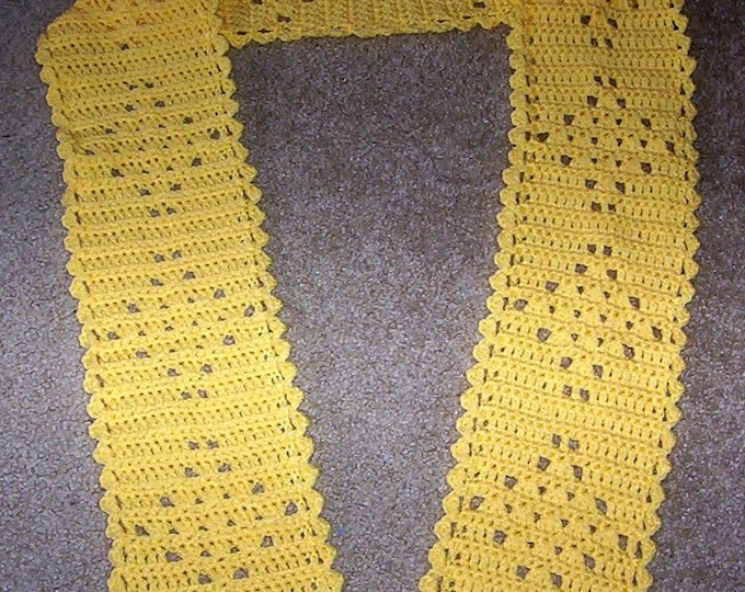 Scarf - Crocheted Lace Scarf in Yellow