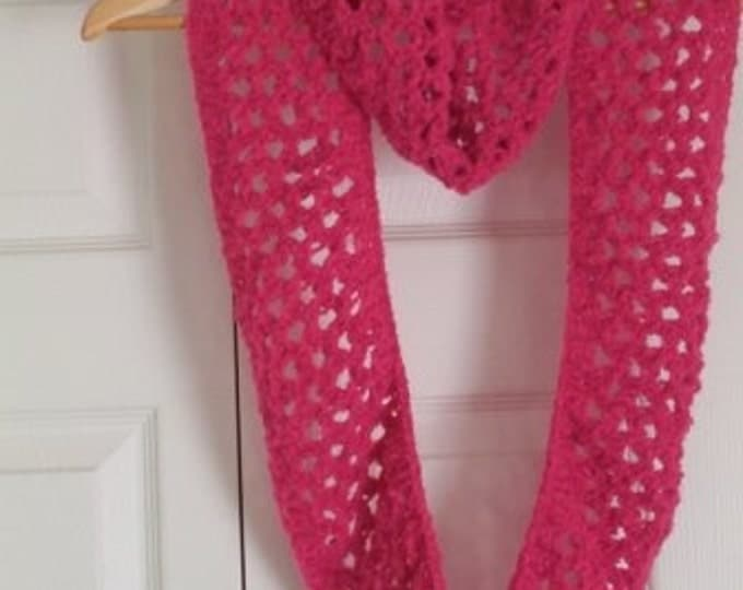 Scarf - Hand Knitted Scarf - Lace Pattern in Pink - Round to Wrap Around Your Neck