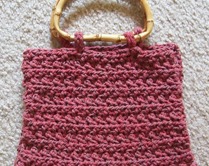 Purse - Crochet Purse with Bamboo Handle - City Purse