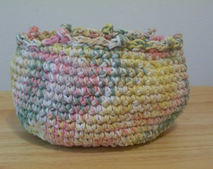 Basket - Crochet Basket - Made of Cotton Yarn - Selfstriping Colors Yellow, Pink, White, Green - Great for Home Dekoration