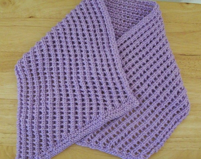 Scarf - Hand Knitted Scarflette in Lilac - Knitted in a Nice Lace Pattern