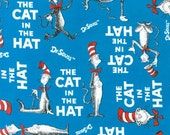 Dr. Suess The Cat in the Hat on blue by Robert Kaufman Fabrics