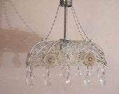 Vintage Inspired Silver Basket Chandelier  Sale Free Shipping
