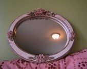 Sweet Distressed Pink Roses Shabby Chic Mirror Free Shipping