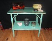 Vintage Bamboo Turquoise Side Table Nightstand  Clearance Reserved