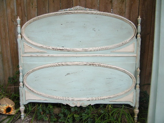 Beautiful  French Turquoise/Cream Vintage Full Size Bed RESERVED