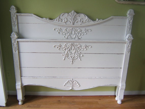 Beautiful Heirloom Antique Headboard Foot board Shabby Chic  Cottage Distressed Full Size Free Shipping.