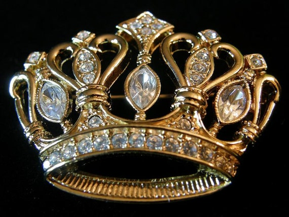 1980's Retro Kenneth Jay Lane by Avon - Bejeweled Crown Brooch