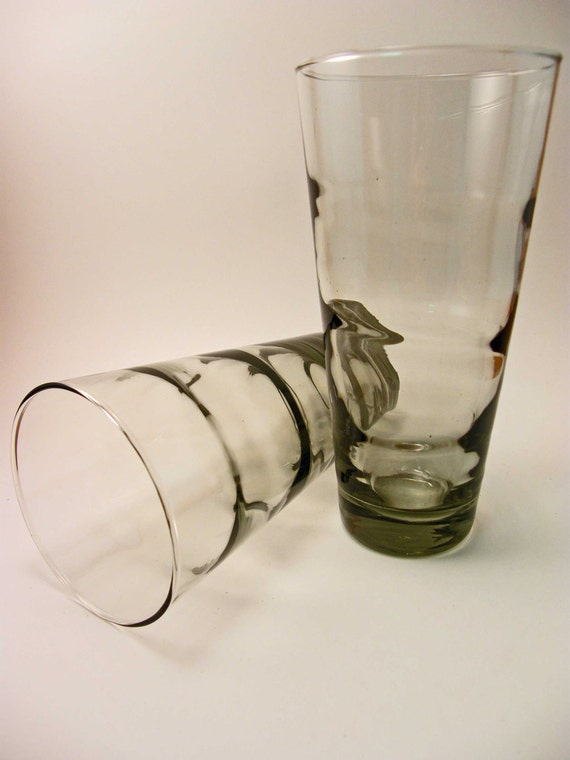 Smoke on the Water - 1957 Libbey Ripple / Saturn Optic SMOKE Color Drinking Glasses