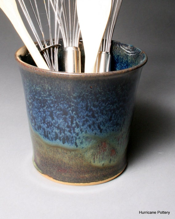 Ceramic Utensil Holder Craft Tools Small Blue Brown by Hurricane Pottery