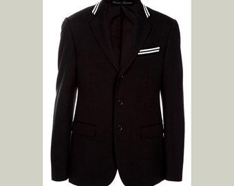Black blazer with black and white racing stripe. Black jacket