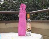Pink Stripe Wine\/Liquor Bag