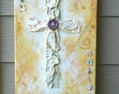 Painting - Religious Art - Cross on Canvas -Mixed Media