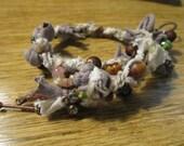 Bracelet Wrap,  Fiber and Beads Bracelet,  Recycled Fabric Jewelry,  Handmade OOAK