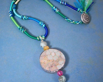 Jewelry Flower Necklace, Blue Flower on Paper, Glass Bead, Resin Coated, Colored Cord Multi Colors, Handmade and Button Closure