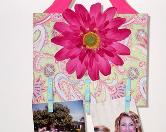Wall Hanging, Photo Holder, Note Board, Clip Board, Girl's Room Decor, House Decor, Fun Floral Clothes Pin Display, Hot Pink, Blue, Greens