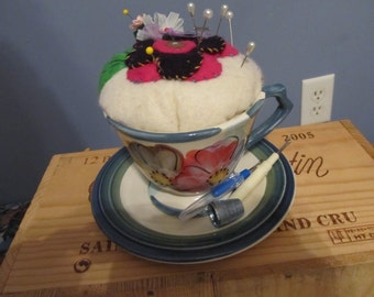 Pincushion  -  Tea Cup  Pincushion   -   Button Plate   -  Sewing Accessory  -  Sewing Supply