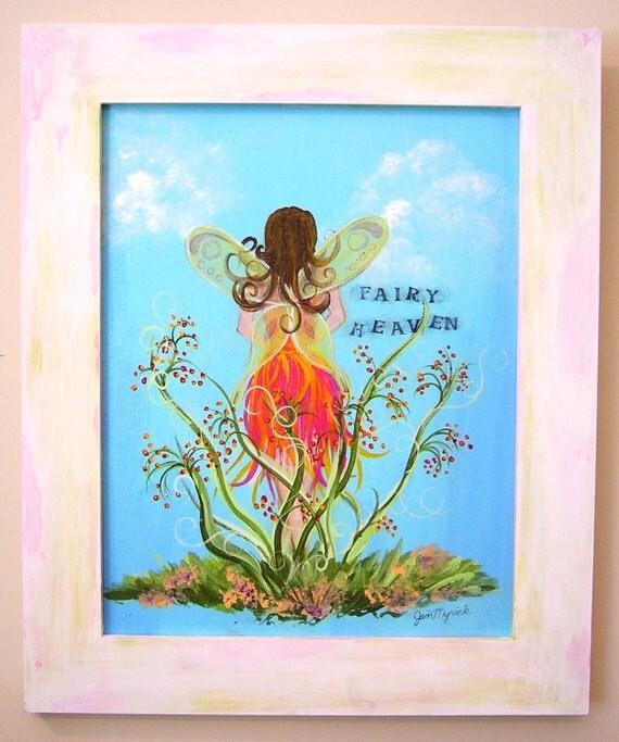 Kid's Art, Wall Art, Child's Room Framed Art, Fairy Art Painting, Home Decor, Gift Item