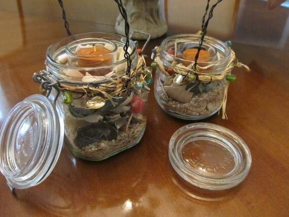 Glass Jars, Candles in Jars, Candle Table Top Decor, Shells and Sand, Handmade, Up Cycled, Home Decor , Outside Patio Table Candles