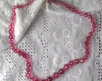Antique necklace of pink beads
