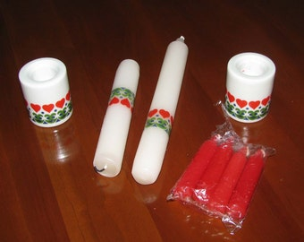 Porcelain German candleholders with candles