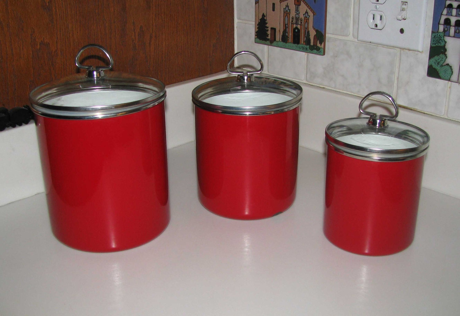 chantal apple red enamelware canister set reduced
