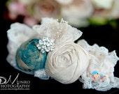 Wedding Garter, Garter, Bridal Accessories, Silk Wedding Garter, Rosebud Garter, Rosette Garter, Antique Golden Blue and Cream