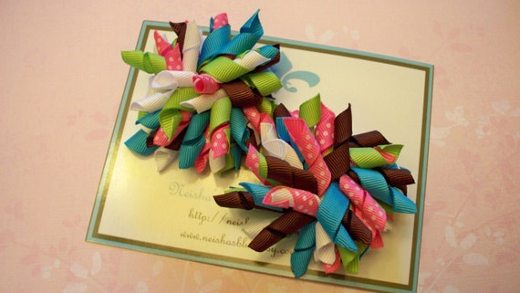 Only Set of Korker Bows in this Color M2MG Lime Green, Turquoise, White and Pink with Swiss Dots