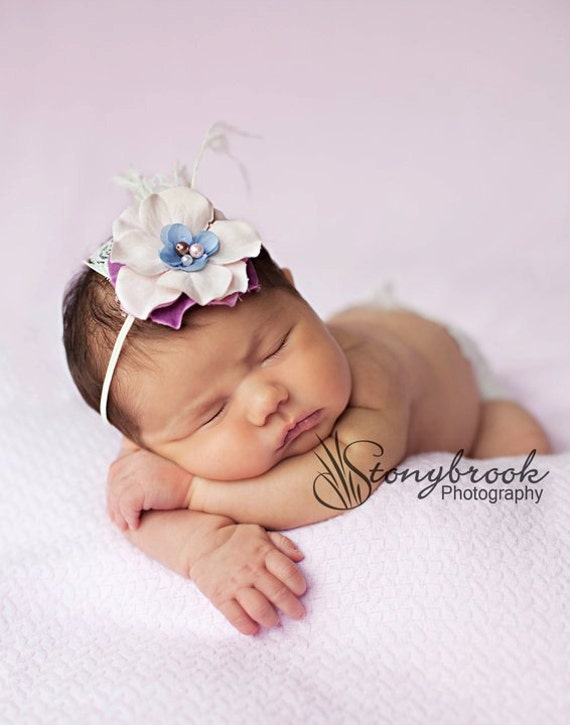 baby headband headband flower headbands baby by kinseygraceco items similar to lilac purple baby flower headband