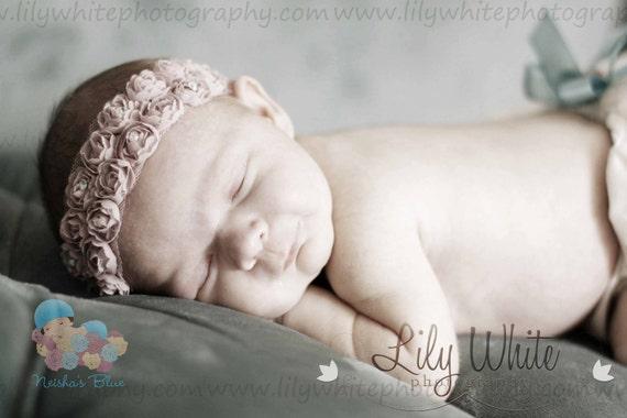 Baby Headbands, Infant Baby Flower Headband, Newborn Flower Headband, Rose Crown Headbands