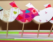 Love Birds Cupcake Toppers Customized Colors