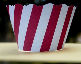 Red and White Stripe Cupcake Wrappers Birthday Circus Carnival Big Top Theme