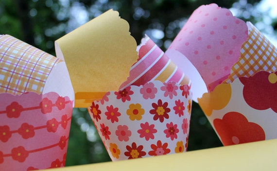 Pink and Yellow Mix Cupcake Wrappers Summer and Springtime