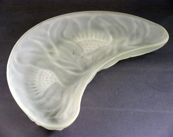 AVON Molded Frosted Glass Crescent Moon Shaped Dish