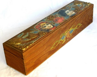 Vintage Handcrafted Decoupage Deco Long Wood Box