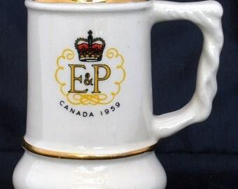 Vintage Souvenir Mini Mug Royal Visit to Canada 1959