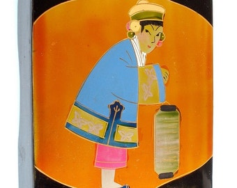 Vintage Japanese Lacquer 'Lady with Lantern' Box