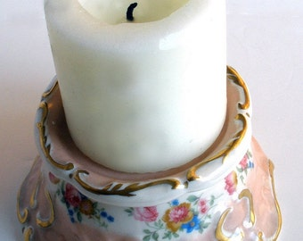Vintage French Baroque Style China Candle Holder