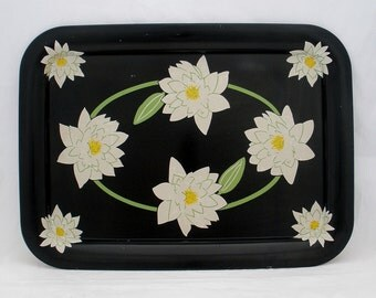 Vintage 1950s Floral Water Lilies Blossom Retro Design Metal Serving Tray