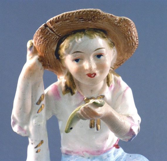 Vintage Pottery Country Girl with Fish Figurine & Vase Planter- free shipping