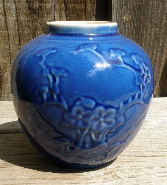 Vintage METLOX 135 Incense Jar Vase with Cherry Blossom Design