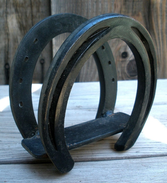 Vintage 1950s Old West Cast Iron Horseshoe Napkin Holder