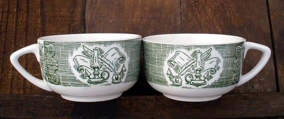 Vintage Old Curiosity Shop Cup Set  Green & White Transferware Royal China