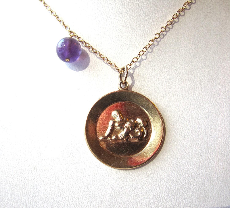 items similar to vintage zodiac aquarius 14k gold pendant