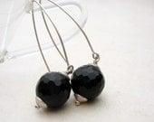 Dangle Earrings, Big Black Onyx Globes, Long Earwires, Brushed Sterling Silver, Simplicity