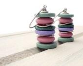 Stack Dangle Earrings, Pastel Summer Colors, Sterling Silver, Greek Ceramic Discs